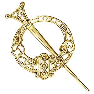 9ct Gold 48x30mm Tara Filigree Brooch