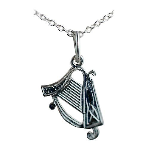 Silver 15x11mm Harp Pendant with a rolo Chain 18 inches