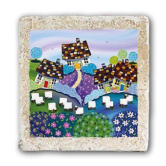 Original Metal Sign Co Marble Coaster, Sheep