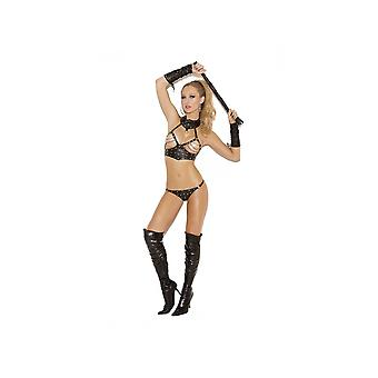 Elegant Moments EM-L1158 2 PC set Leather chain & nail head top & g-string
