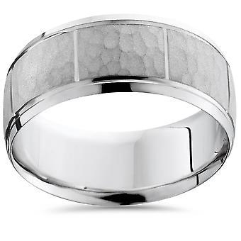 Mens Satin White Gold Wedding Band Milgrain Ring 8mm Flat Brushed Free Sizing