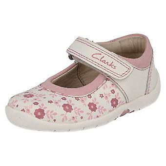 Girls Clarks Shoes with Flower Design Softly Fizz