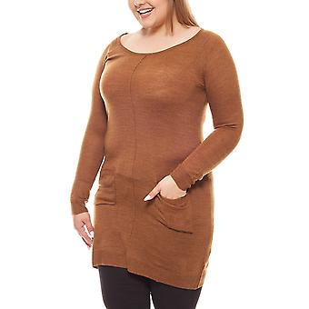 Tamaris knee fine knit dress plus size Brown