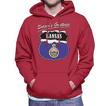 Seasons Greetings Kansas State Flag Christmas Men's Hooded Sweatshirt