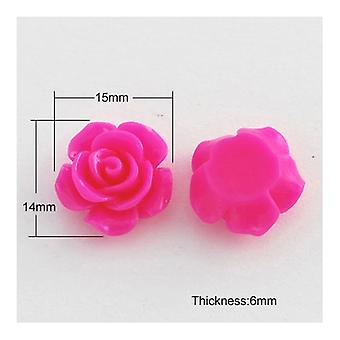 Packet 30 x Fuchsia Resin Flat Back 14 x 15mm Flower 6.5mm Thick Cabochon Y03370