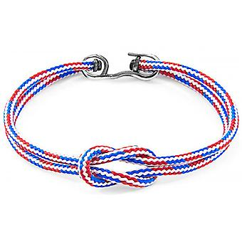 Anchor and Crew Foyle Silver and Rope Bracelet - Red/White/Blue