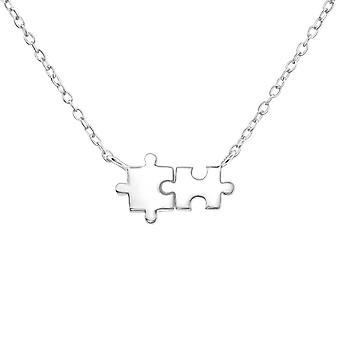 Puzzle - 925 Sterling Silver Plain Necklaces - W37388x