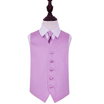 Lilac Plain Satin Wedding Waistcoat & Tie Set for Boys