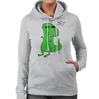 Trex Saying Hey Paint Art Women's Hooded Sweatshirt