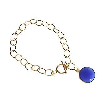 Onyxarmband in blau Blauer Onyx Armband vergoldet