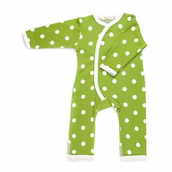 Spotty green baby grow