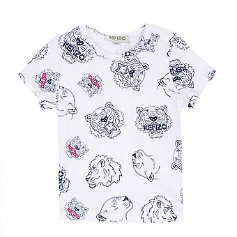 Kenzo Infants Girls Dora Tiger Face Print T-Shirt (White)