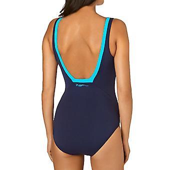 Zoggs Womens Zen Squareback Swimming Swim One Piece Costume Swimsuit - Navy