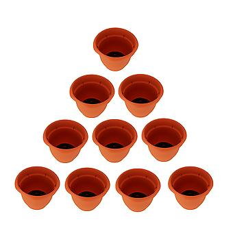 Set of 10 Ariana Flame Orange Self Watering Planter Pots 8 Inch
