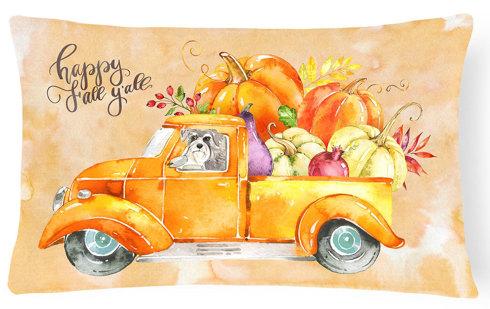 Canvas Pillow Fabric Decorative Fall Schnauzer2 Harvest E9ID2WH
