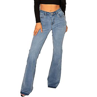 Long Leg Bootcut Stretch Jeans with Frayed Leg Ends - Faded Blue