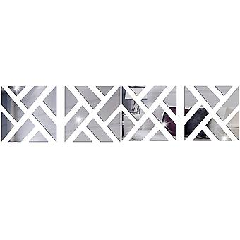 TRIXES 4PC 3D Geometric Mirrored Pattern Colour Silver  Wall Art Decoration