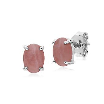 Gemondo Sterling Silver Rhodochrosite Single Stone Oval Stud Earrings