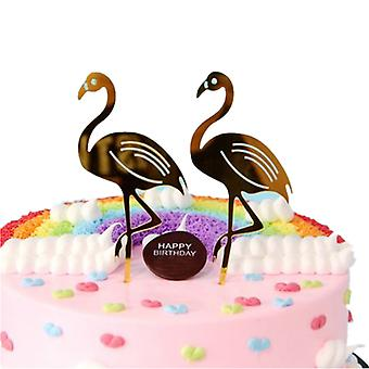 SOLID FLAMINGO CAKE FLAGS 2 SET GOLD