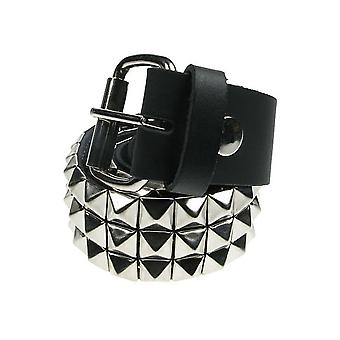 Bullet 69 3 Row Silver Pyramid Stud Leather Belt