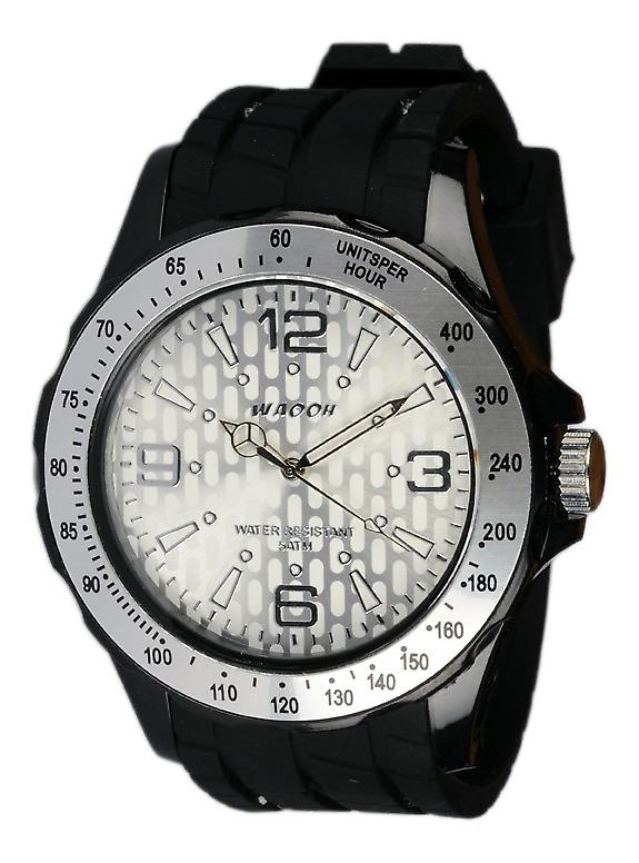 Waooh - Black Silicone Watch With A White Dial Silver Gpm48 Inspired From Monaco Grand Prix