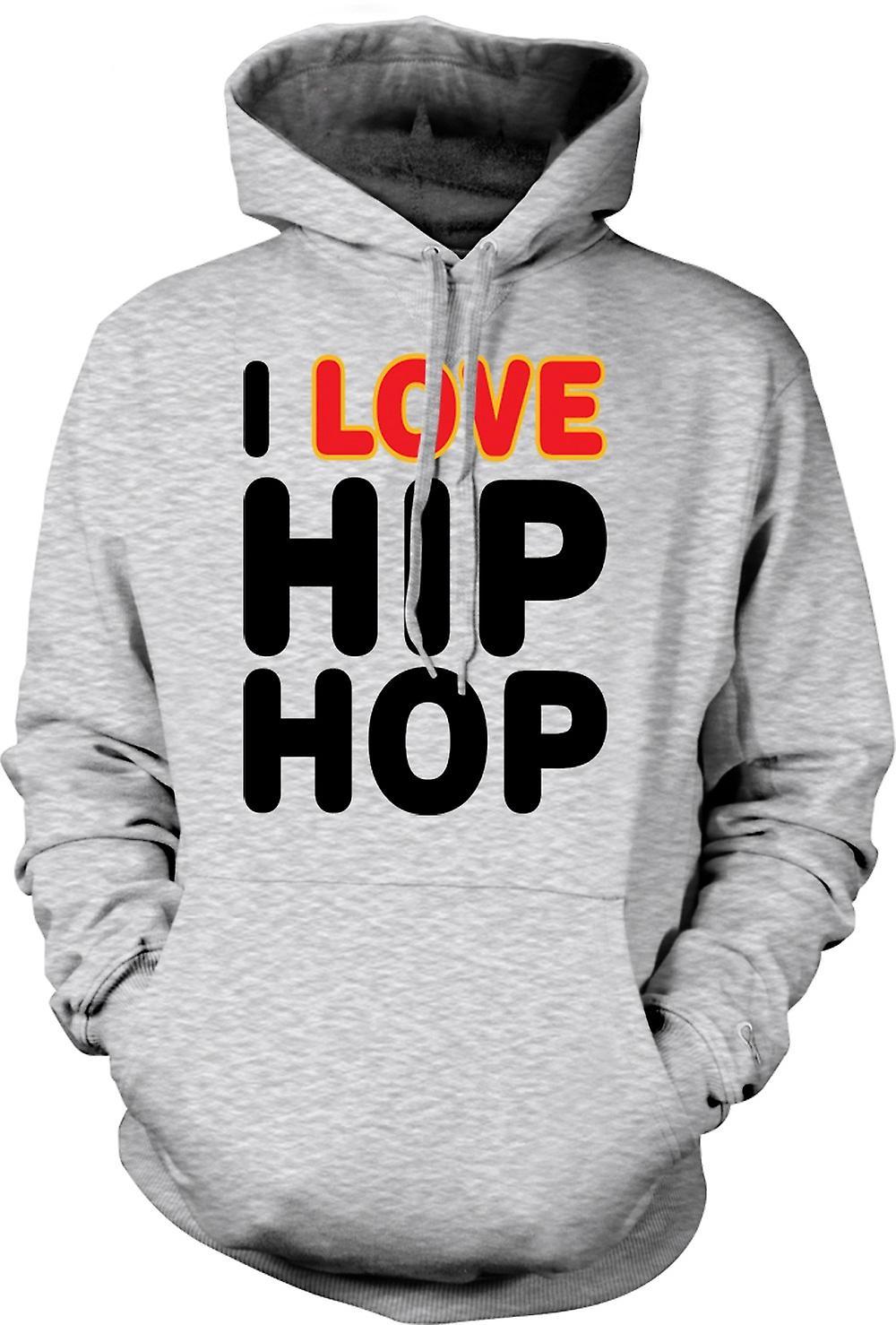 Mens Hoodie - I Love Hip Hop - Funny