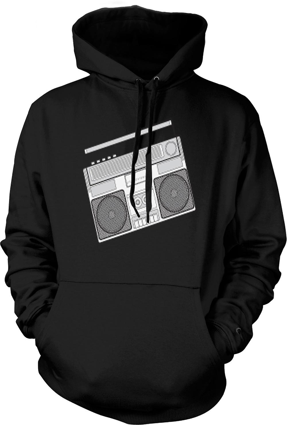 Mens Hoodie - Ghetto Blaster Design Drawing
