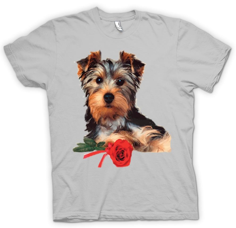 Mens T-shirt - Yorkshire Terrier Dog with Rose