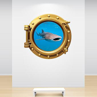 Full Colour Whale Shark Brass Gold Porthole Wall Sticker
