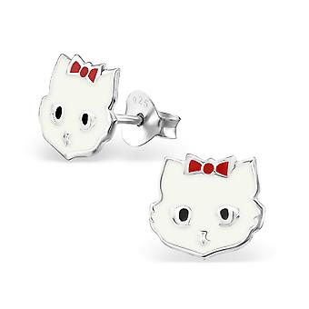 Cat - 925 Sterling Silver Colourful Ear Studs - W4719X