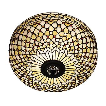 Feux Large Tiffany Style Two Light Flush Ceiling Fixture