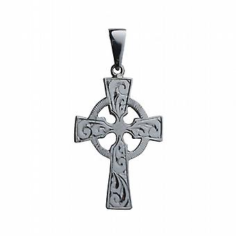 9ct White Gold 35x24mm hand engraved Celtic Cross with bail