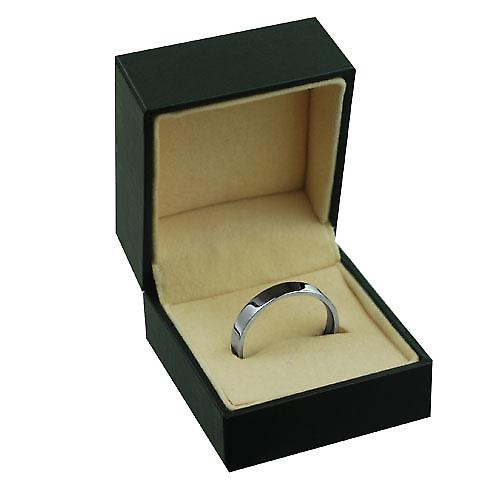 Platinum 4mm plain Flat Court shaped Wedding Ring