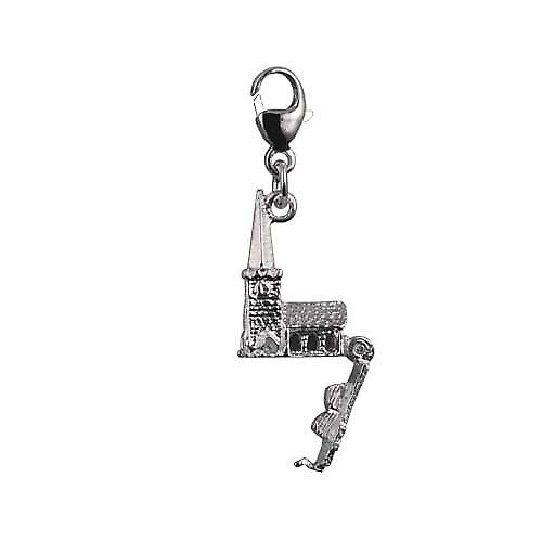 Silver 15x9mm moveable Chapel with a tiny Bible inside Charm on a lobster trigger