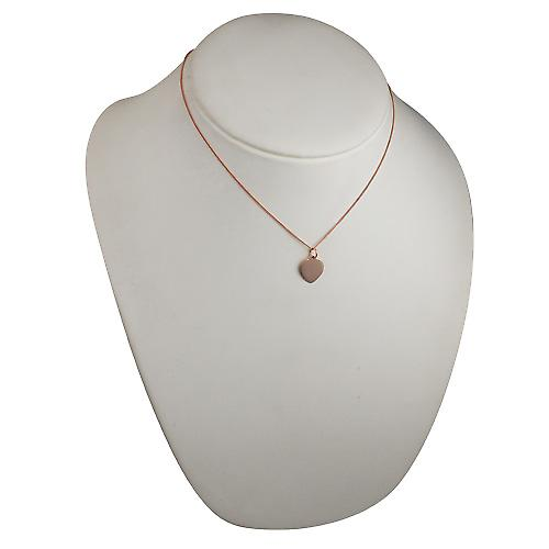 9ct Rose Gold 14x14mm plain heart Disc with a curb Chain 16 inches Only Suitable for Children