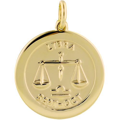 9ct Gold 22mm round Zodiac Disc Pendant Libra