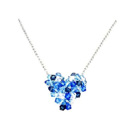 Inexpensive Swarovski Sapphire AB Crystal Puffy Heart Necklace