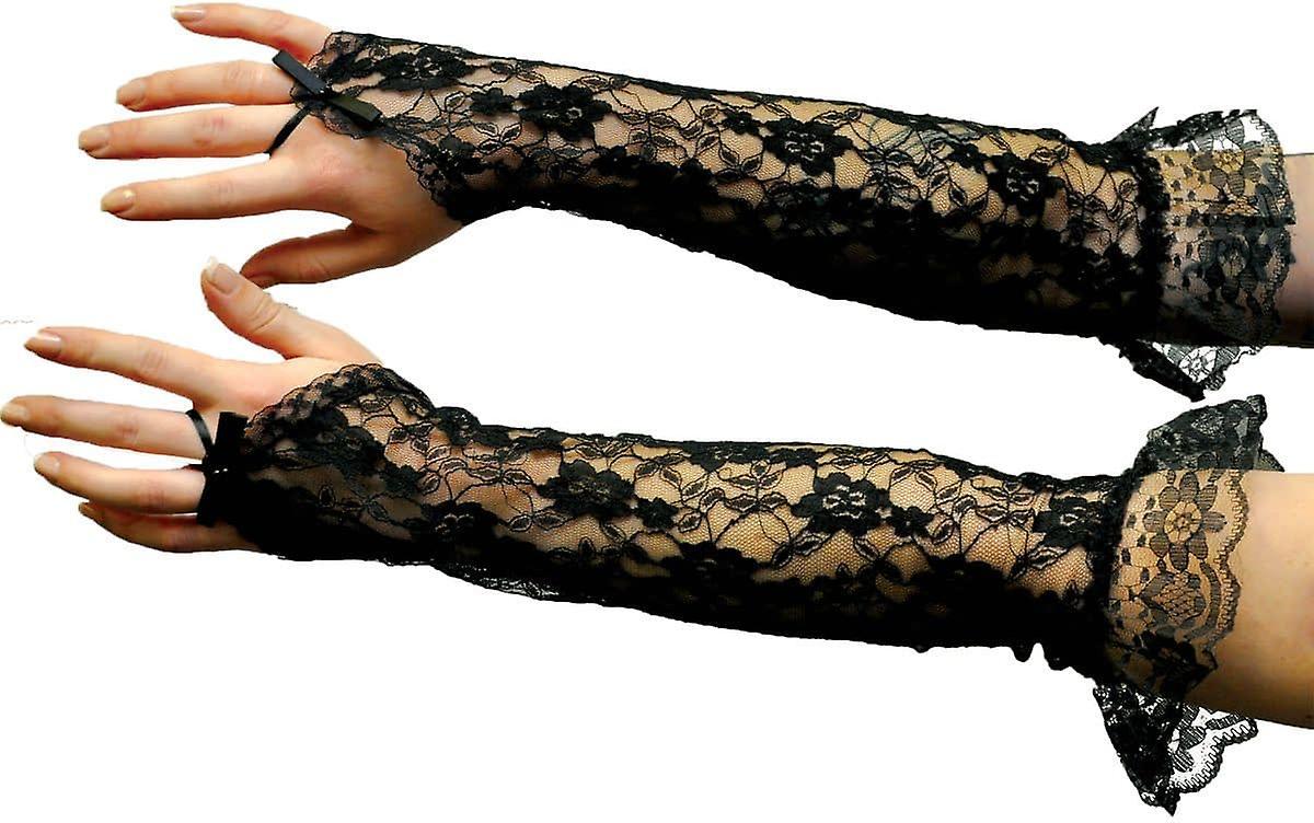 Gloves Bk Lce Fngrlss Elbow