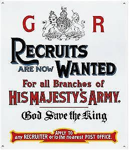 Recruits Wanted for His Majestys Army enamelled steel sign
