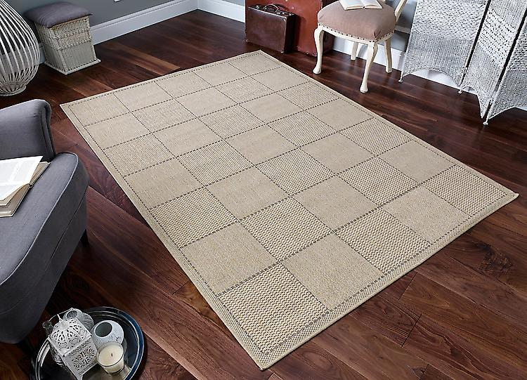Checked Flatweave Beige Light beige  Runner Rugs Plain/Nearly Plain Rugs