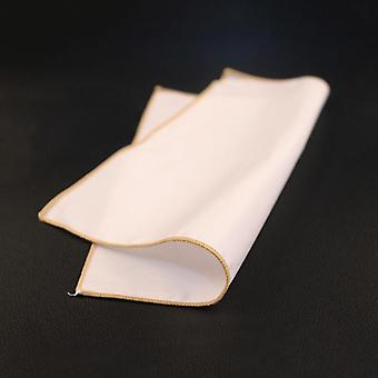 Golden coffee trim plain white 100% cotton pocket square