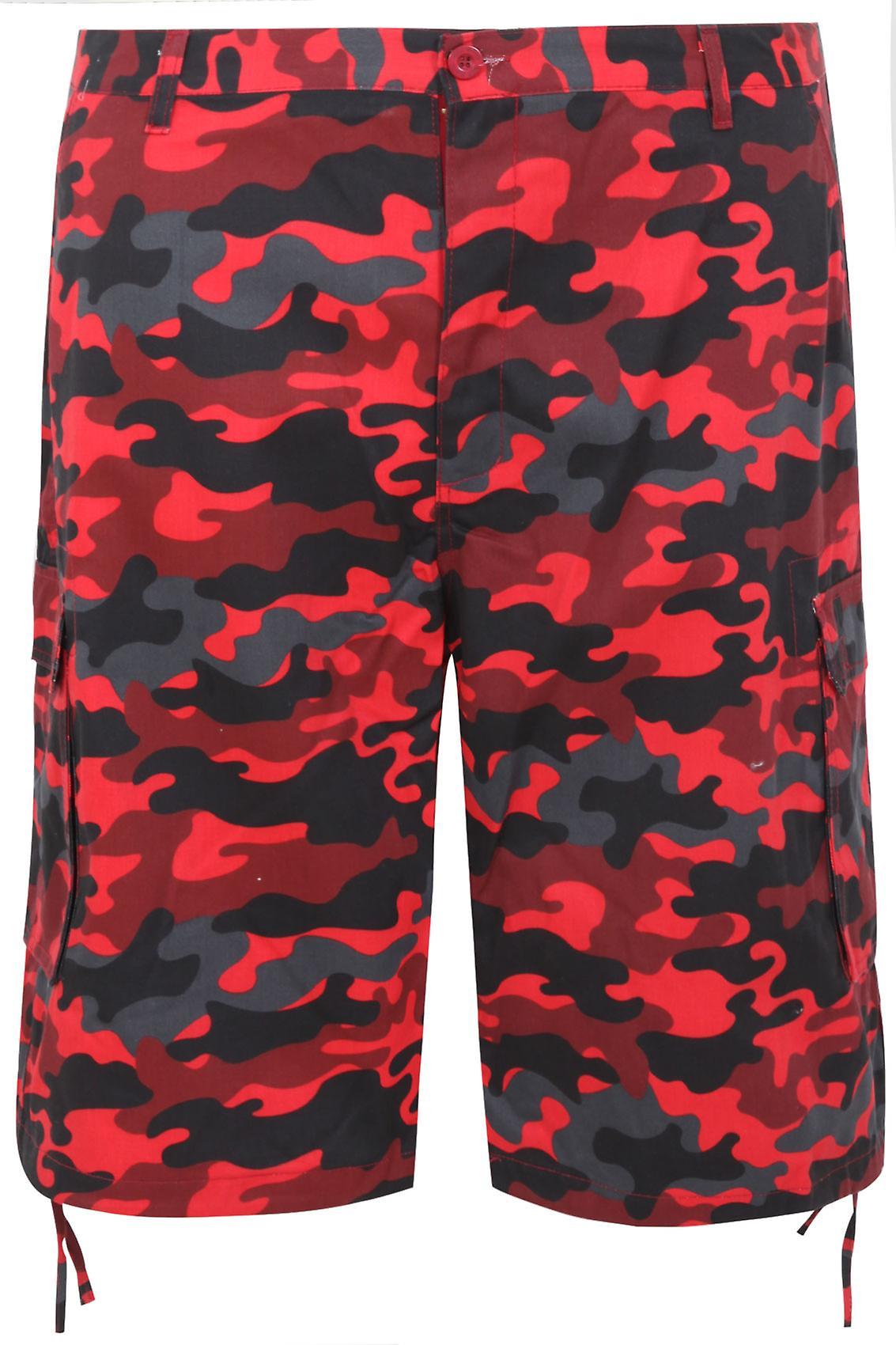 NOIZ Red & Black Camo Print Cotton Cargo Shorts With Pockets
