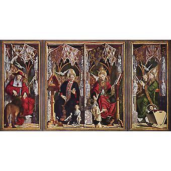 Altarpiece af den Earyly chuch fædre, Michael Pacher, 80x43cm