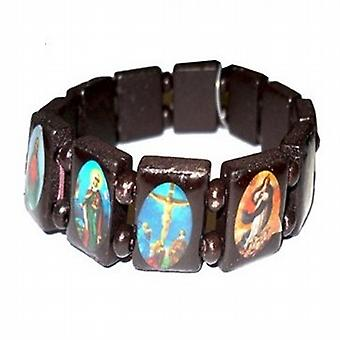 The Olivia Collection Small Dark Brown Wooden Religious Icons Bracelet