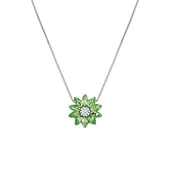 Eternal Collection Lotus Peridot Austrian Crystal Silver Tone Pendant Necklace