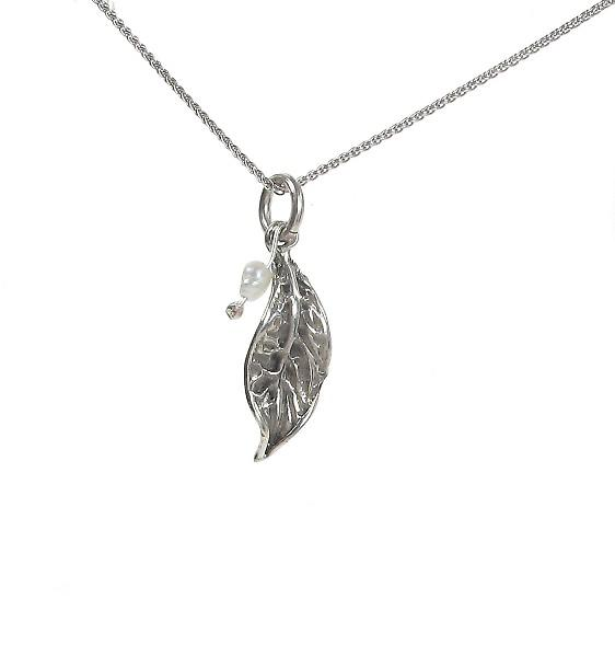 Cavendish French Sterling Silver Tiny Rustic Leaf and Pearl Pendant without Chain