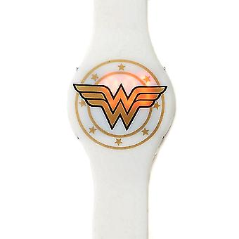 Wonder Woman White Gold Emblem LED Watch