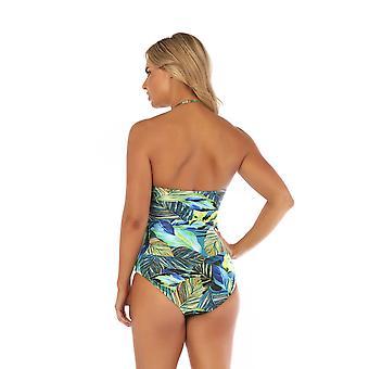 Seaspray SY007788 Women's Eden Green Multicolour Floral Costume One Piece Draped Bandeau Swimsuit