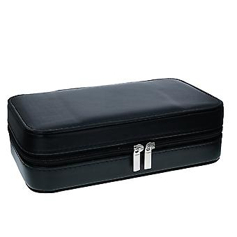 Mele - Gents Black PU Jewellery Case With Mirror & Compartments 1564