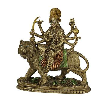 Durga Supreme Hindu Goddess Riding On Tiger Statue